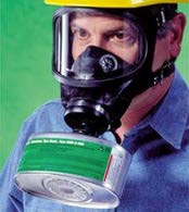 Photo of person wearing a full face breathing mask for protection against a harmful atmosphere