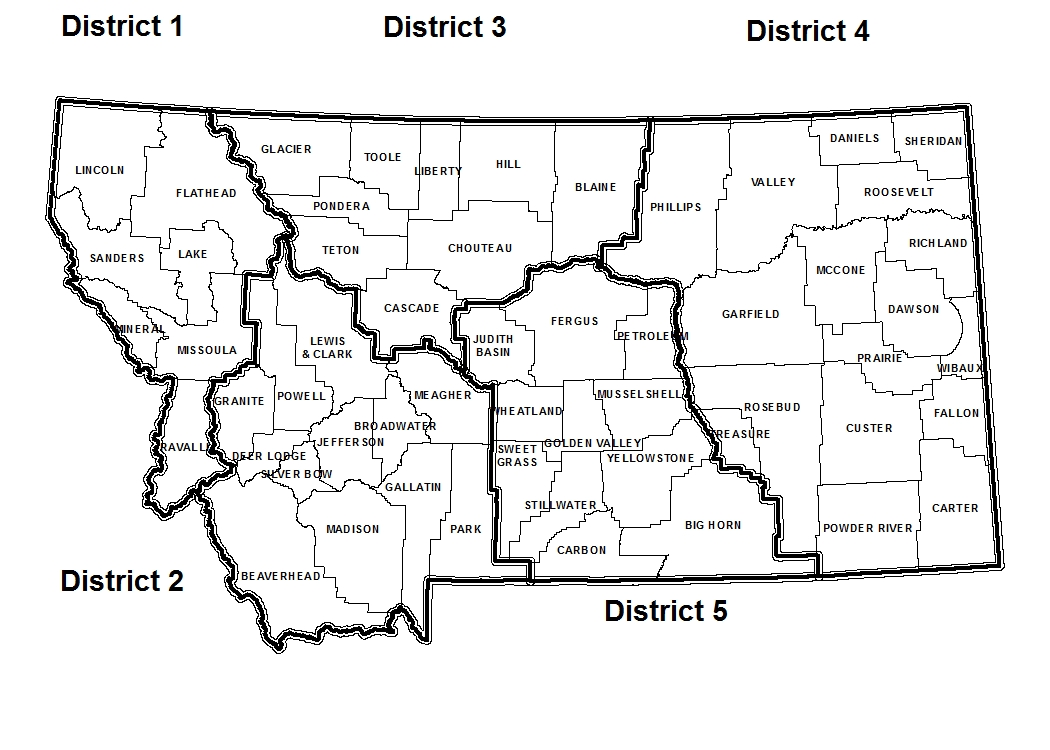 Map of Montana PAT Districts. Details below.