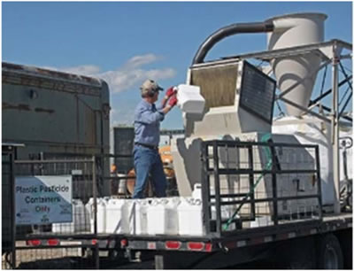 Photo of a truck-mounted plastic recycling system