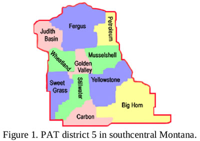 PAT District 5 county map. Counties listed below.