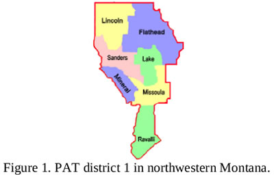 PAT District county map, outlining 7 northwestern counties (listed below)
