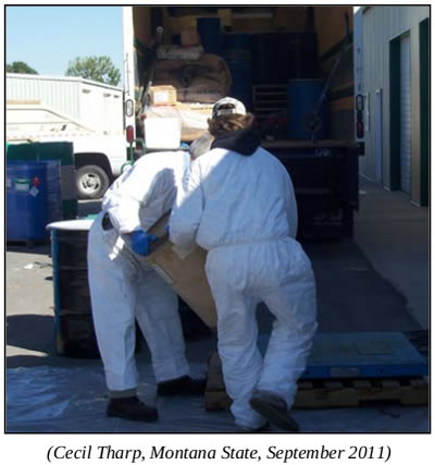 Safely moving pesticide with proper PPE
