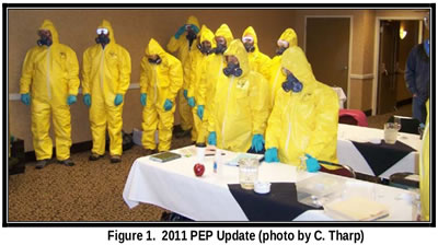 group in yellow PPE suits. captioned: figure one 2011 PEP update