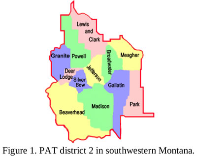 Map highlighting counties in P A T District 2, detailed below