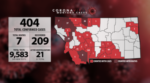COVID-19 cases in Montana as of April 15th, 2020 (Posted at KRTV news; KRTV.com.)